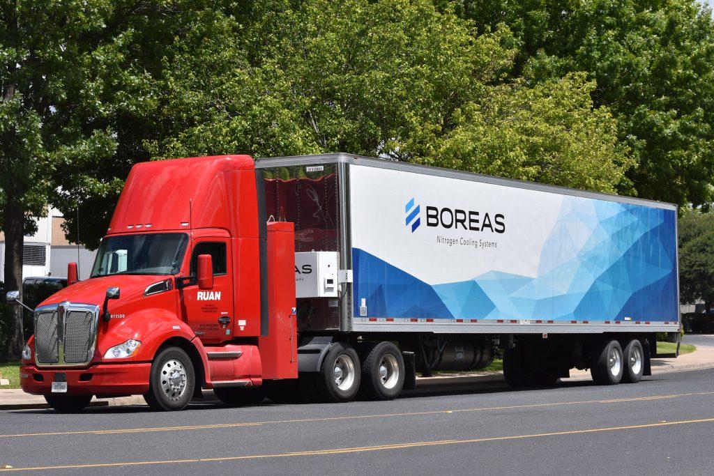 Ruan and Boreas Photo Red CNG and Boreas Trailer