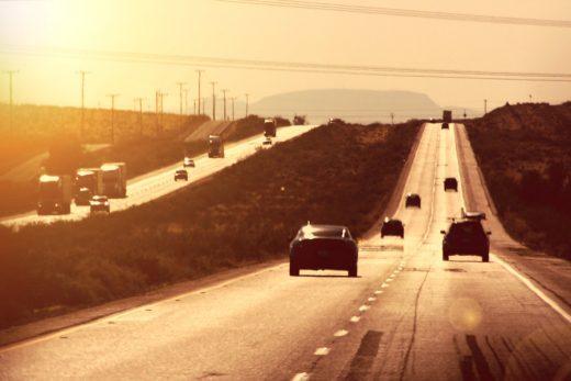 Trucks on Desert Highway