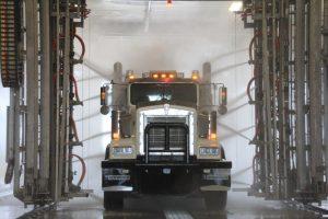 Truck running through Wash