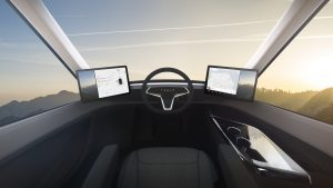Shot from inside viewing out the window, showing the high tech Telsa Semi Interior Command