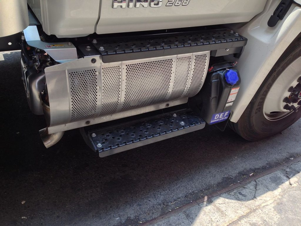 Hino truck and its selective catalytic reduction (SCR) next to the Diesel particulate filter (DPF), diesel exhaust fluid (DEF)