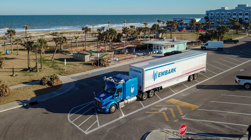 Embark truck completed a coast-to-coast test drive, autonomous semi-truck,
