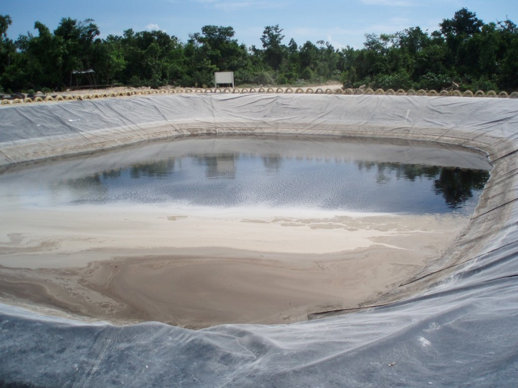 Pond used for leachate evaporation. Municipal landfill. Leachate