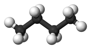 Ball-and-stick model of the butane molecule