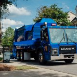 fully electric Mack LR refuse model equipped with an integrated Mack electric drivetrain