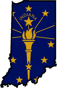 Indiana state with flag overlay