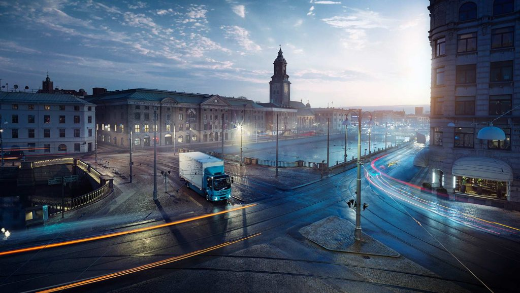 Volvo Trucks , HD Truck, EV Truck, Night Street, Firms Partner on Charging Stations, energy storage systems