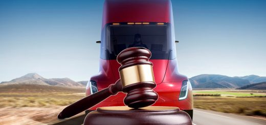 Tesla Semi with Legal Gavel stopping it on road