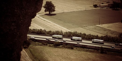 Trucks on Road in Mornas, France, French Lorrys