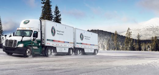 Old Dominion FreightLine Truck on snowy road by mountain