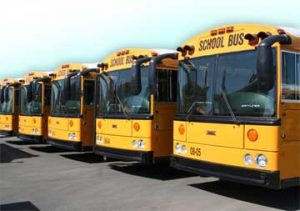 Line of parked school buses, Kern County Superintendent of Schools Bus CNG, Class B CDL to Class A CDL, Driver Training Regulations