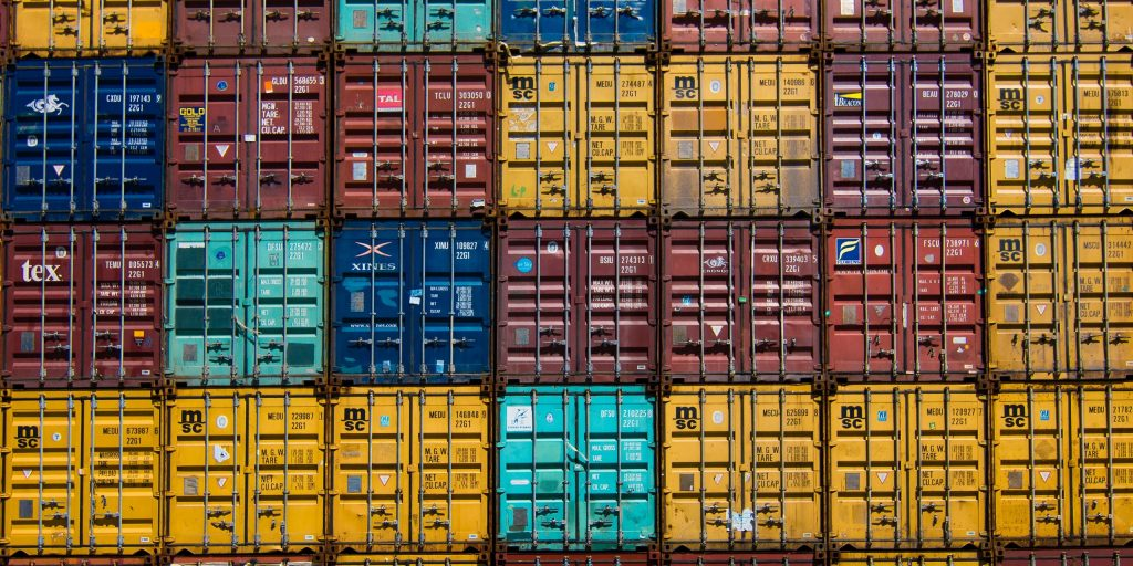 Intermodal containers stacked