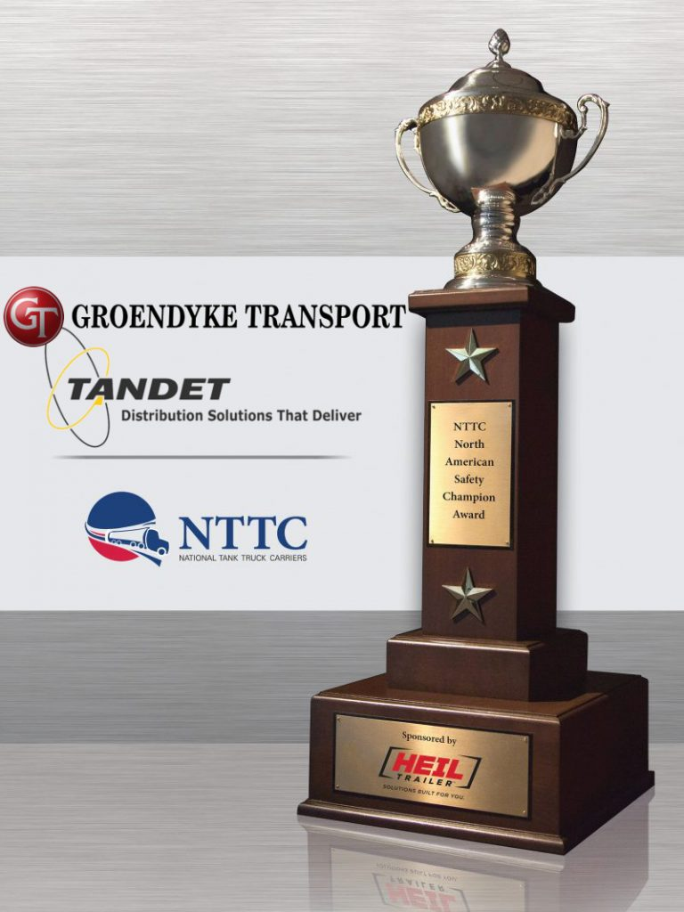 The mileage divisions are named after the association's first two and longest-serving presidents: Austin Sutherland (1945-1972) and his successor, Cliff Harvison (1972-2005). The mileage-based dividing line of the fleet size categories is 15 million miles.,NTTC North American Safety Award Winners Groendyke Transport and Tandet Logistics, National Tank Truck Carriers (NTTC) has named two companies as North American Safety Champions. They are Groendyke Transport Inc. of Enid, Okla., and Tandet Logistics Inc. of Oakville, Ontario.