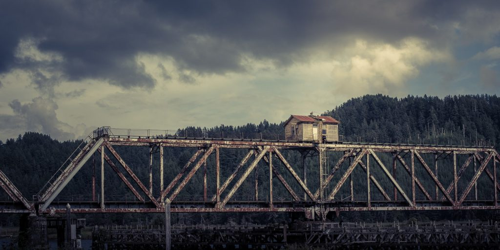 Heceta Beach, United States, Abandoned building on a bridge