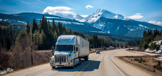 Highway truck Semi in mountains