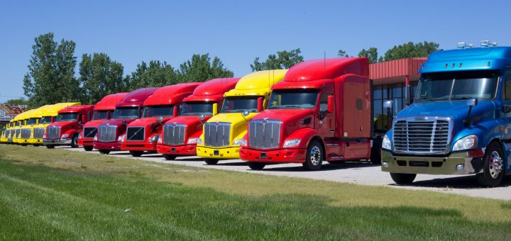Line of colorful semi-trailer cabs.