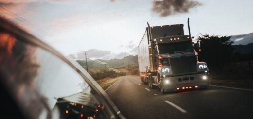 Huge truck in the evening glow