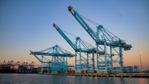 Port of Los Angeles Shipyard Cranes, Warning Lights Flashing At LA Ports
